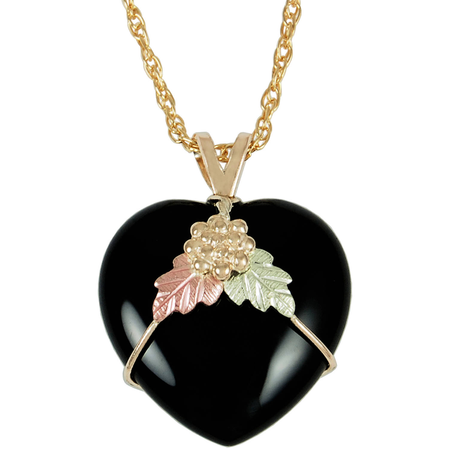 Black Hills Gold Jewelry by Coleman Co. 10kt and 12kt Black Hills Gold Heart Pendant, 18""
