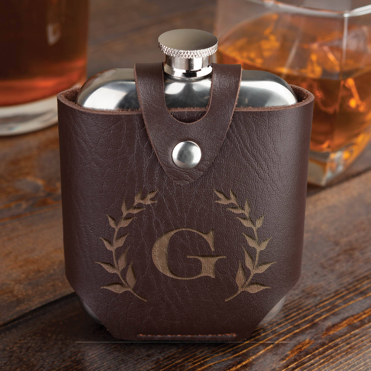 Wreath Initial Personalized Flask and Leather Case