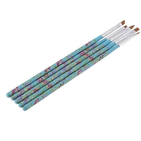 5PCS Nail Art Wood UV Gel Salon Pen Flat Brush Kit Dotting Tool](Black And White Halloween Nail Art)