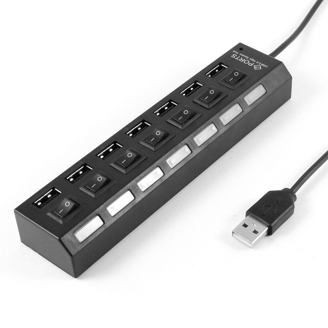 LED Indicator On/Off Switch 7 Ports USB 2.0 Hub Splitter Adapter for PC