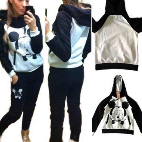 Womens 2Pcs Hoodies Sweatshirt Top Pants Jogging Suits Tracksuit Gym Sportswear