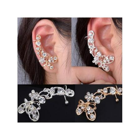 Austrian Crystal Butterfly Flower - 1PC Charm Fashion Crystal Butterfly Flower Ear Cuff Stud Earrings Wrap Clip