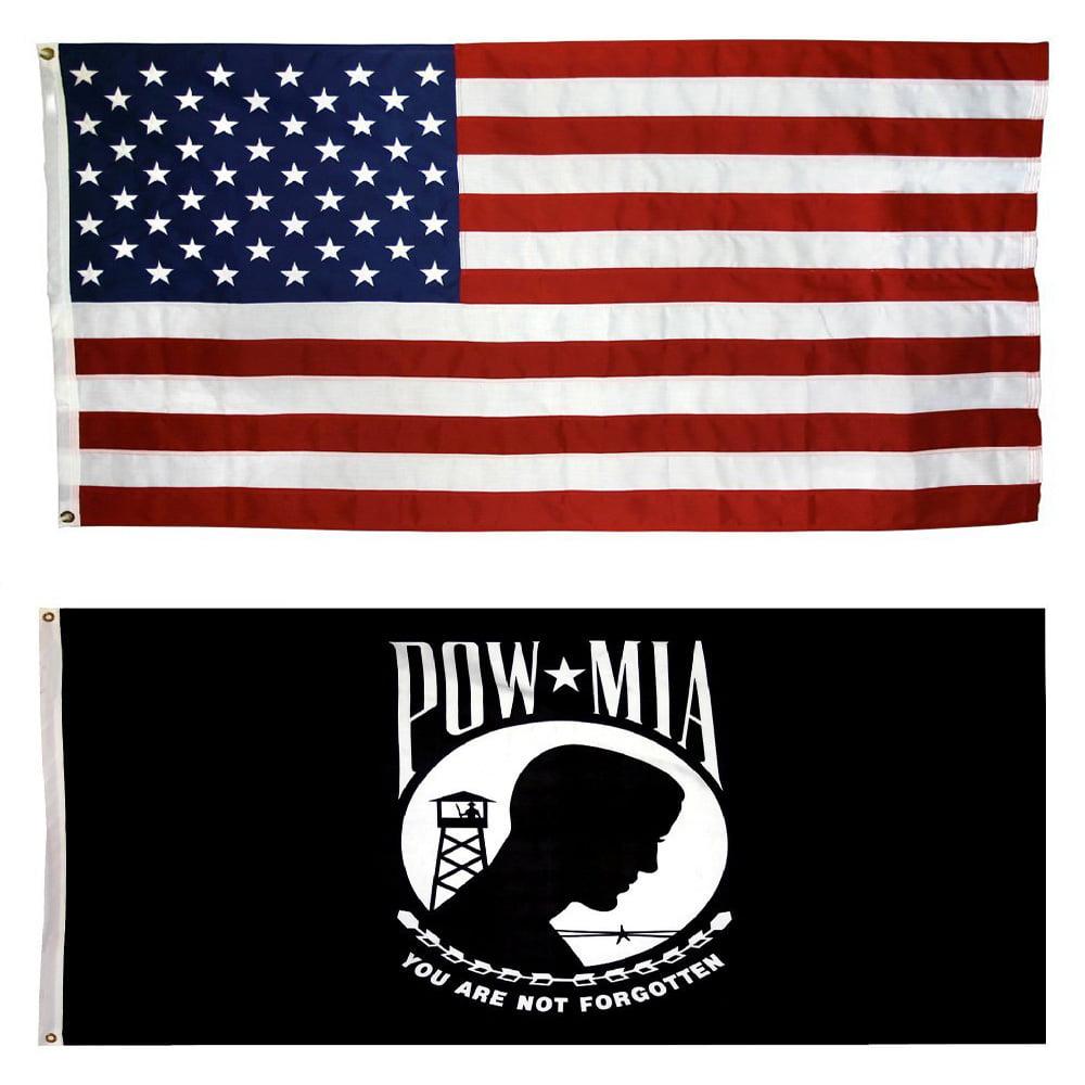 1a5a6551048b Collins Flags 3  x 5  Nylon US Flag   3  x 5  US POW MIA Double Faced Nylon  Flag Bundle - Walmart.com