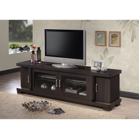Baxton Studio Viveka 70-Inch Dark Brown Wood TV Cabinet with 2 Glass Doors and 2 Doors ()