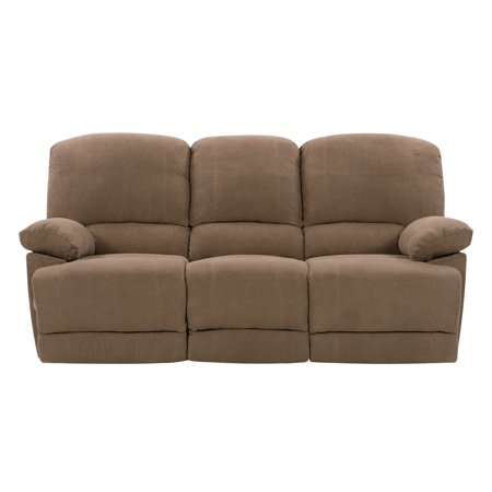 CorLiving LZY-391-S Plush Reclining Brown Chenille Fabric Sofa with Fold-Down Console and Cupholders Plush Microfiber Sofa