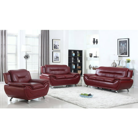 - UFE Norton Burgundy Faux Leather 3-Piece Modern Living Room Sofa Set
