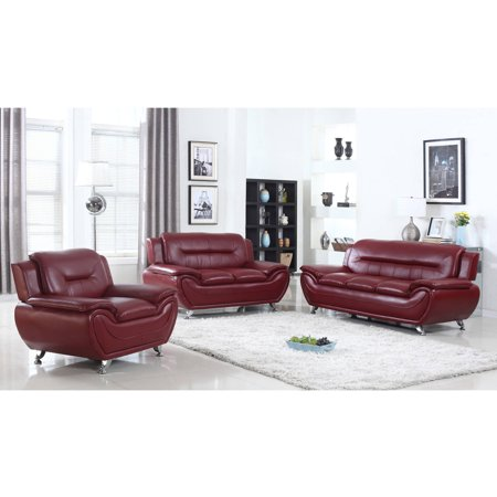 UFE Norton Burgundy Faux Leather 3 Piece Modern Living Room Sofa Set