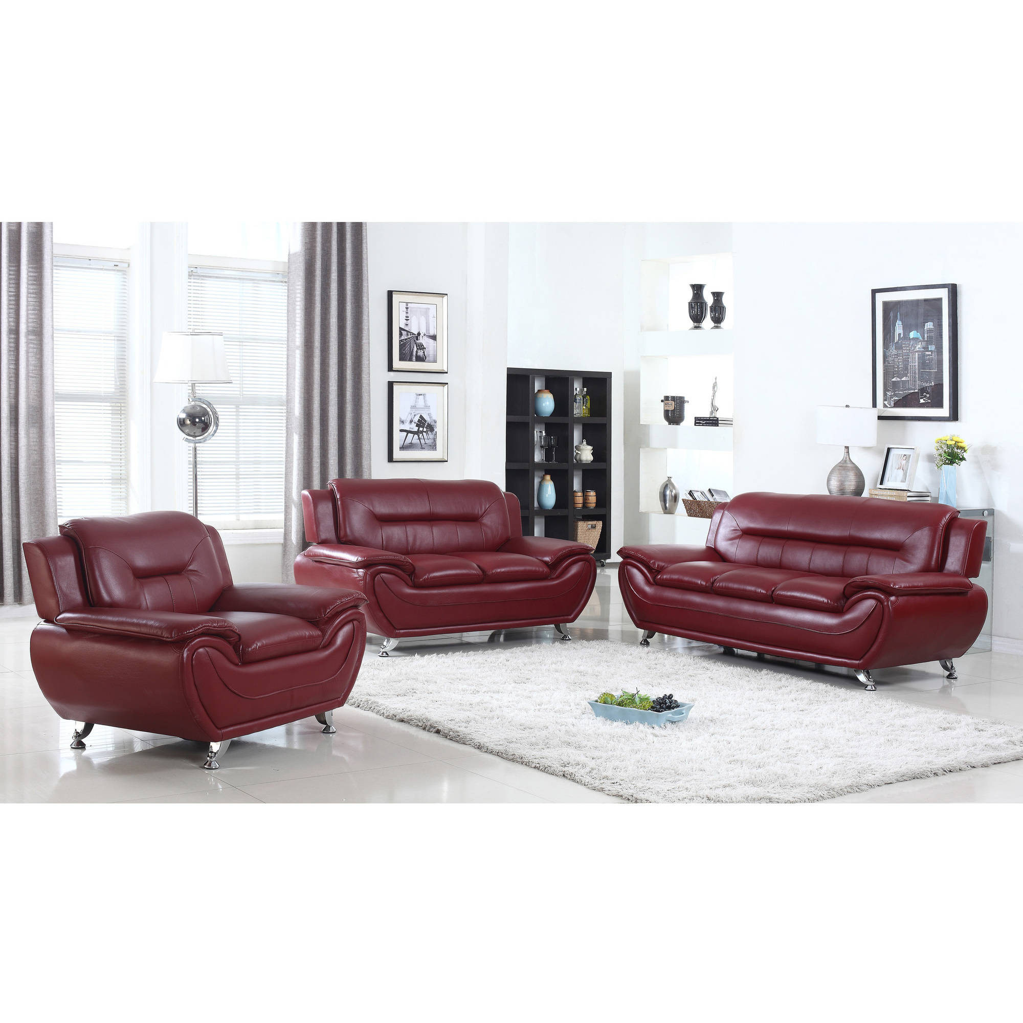UFE Norton Burgundy Faux Leather 3-Piece Modern Living Room Sofa Set