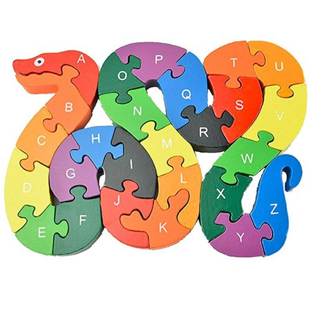 Kids Preschol Cognitive Intelligence Colorful Wooden Blocks,26 Letters Snake Puzzle Toys Montessori Jigsaw for Birthday Chirstmas Gift - Return Gifts For Kids