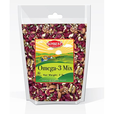 SunBest Trail Mix Nuts Seeds and Fruits (UNSALTED, RAW Pecans, Walnuts Halves and Pieces, Almonds, Pumpkin Seeds/Pepitas, and Cranberries) (Omega 3, 2 Lb) Omega 3 2 Pound