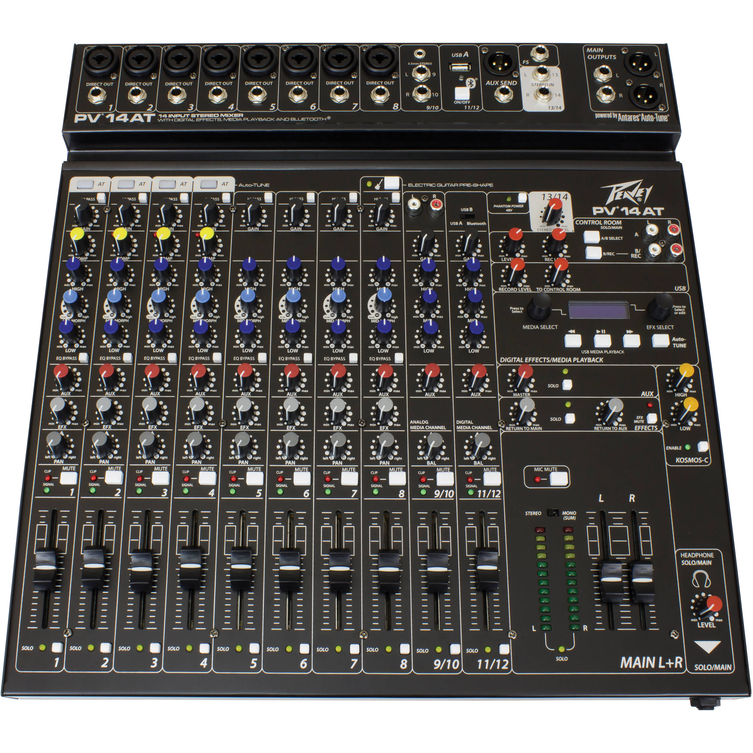 Peavey PV 14 AT Pro Audio DJ 14 Channel Analog Mixer Auto Tune & Bluetooth - Factory Certified Refurbished