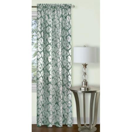 Batik Panel - Traditional Elegance Batik Window Curtain Panel - 52x63 - Sage
