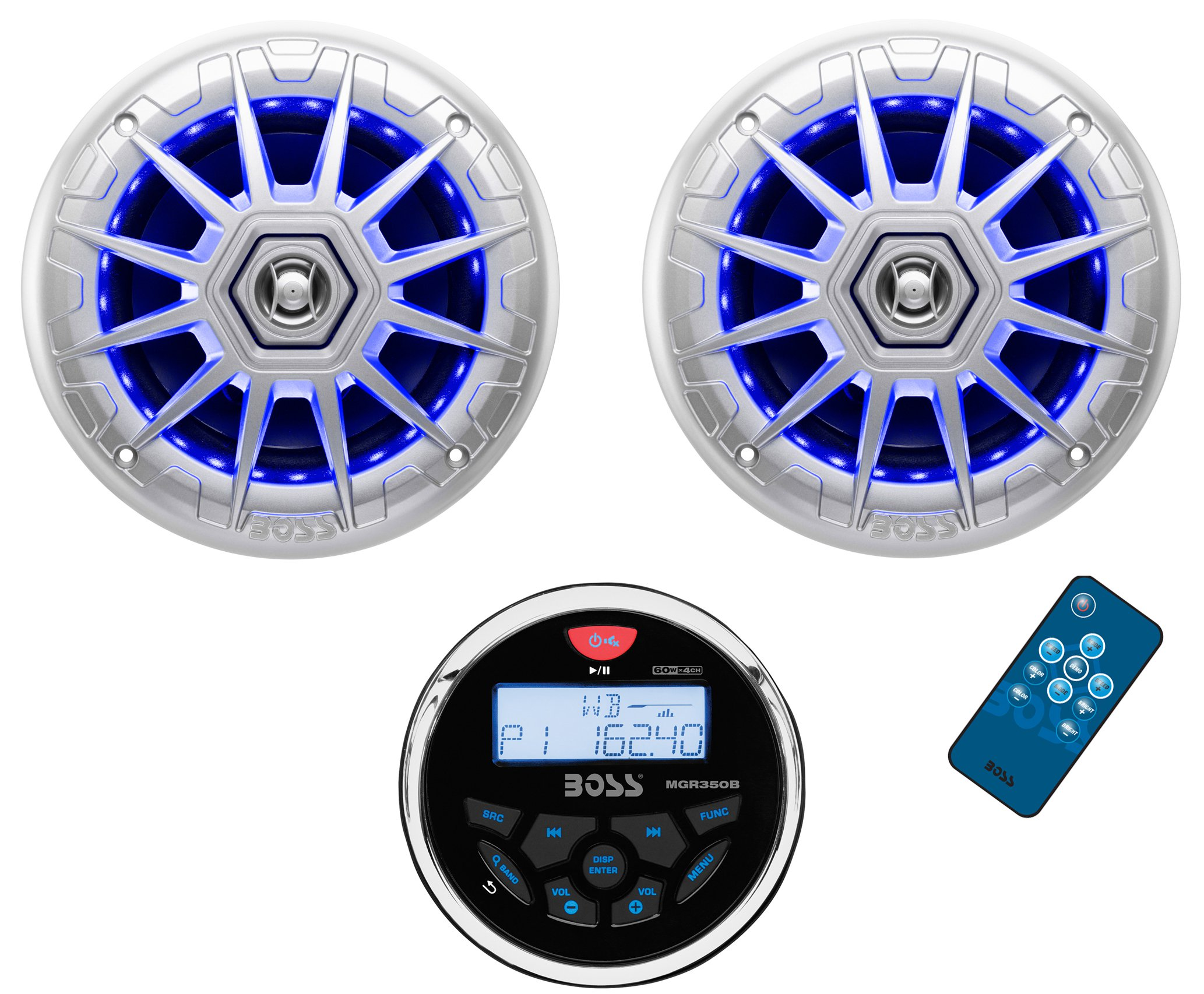 """Click here to buy Boss MGR350B 3"""" Gauge Marine MP3 Radio Receiver Bluetooth ATV Boat+6.5"""" Speakers by Boss Audio."""