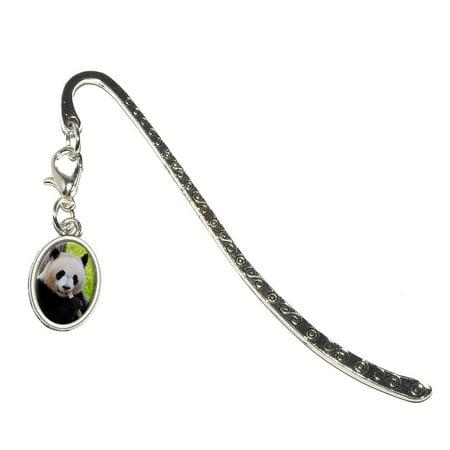Teddy Bear Design Bookmarks (Panda Bear Endangered Oval Charm Metal Bookmark )