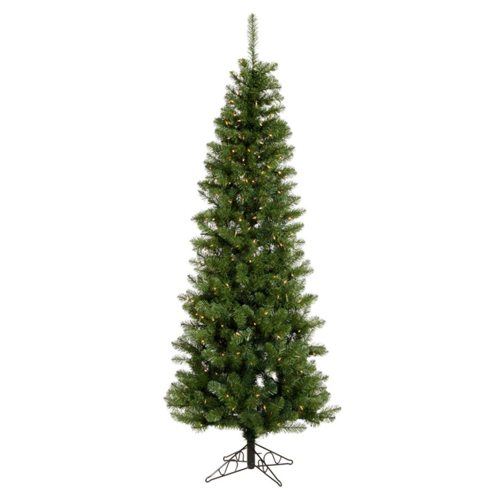 "Pre-Lit 4.5' x 24"" Salem Pencil Pine LED Artificial Christmas Tree, Green, White Lights"