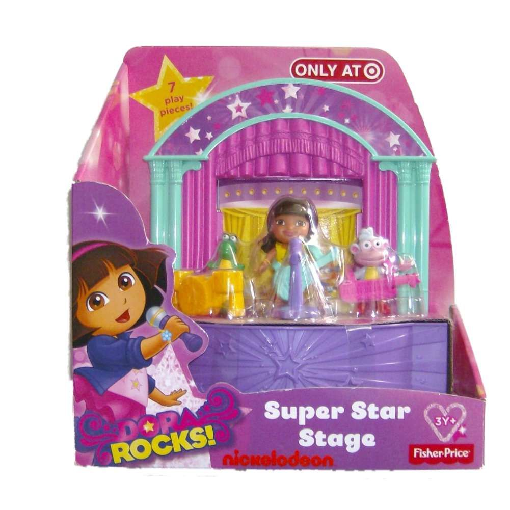 Fisher Price Dora The Explorer Super Star Stage Playset with 7 Play Pieces by