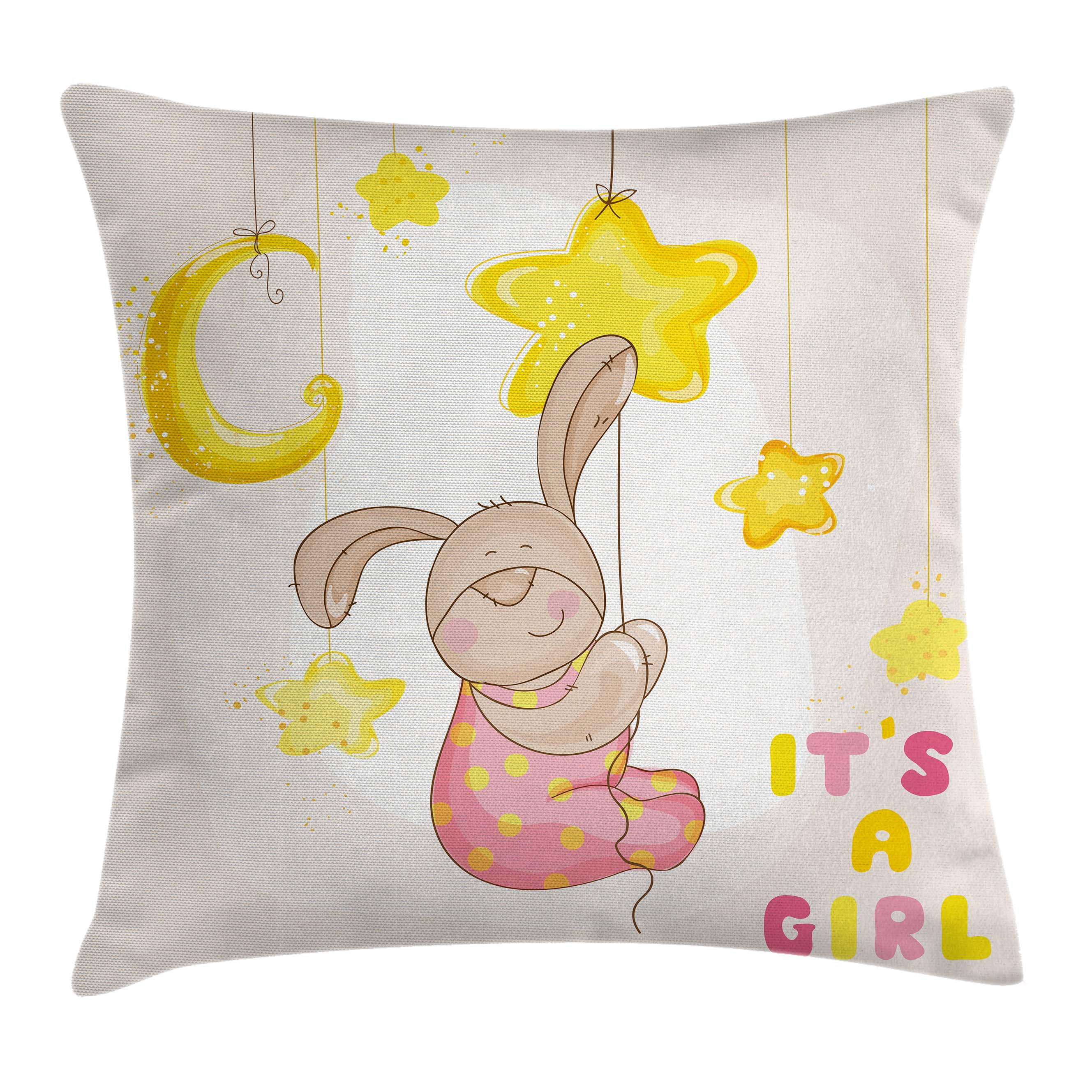 Kids Throw Pillow Cushion Cover, Cartoon Like Cute Baby Bunny Hanging Stars and Moon Polka Dots Cheerful Art, Decorative Square Accent Pillow Case, 16 X 16 Inches, Yellow Tan Light Pink, by Ambesonne