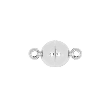 Magnetic Clasp, Smooth Round Ball with Loops 6mm Diameter, 1 Set, Silver Tone Brass