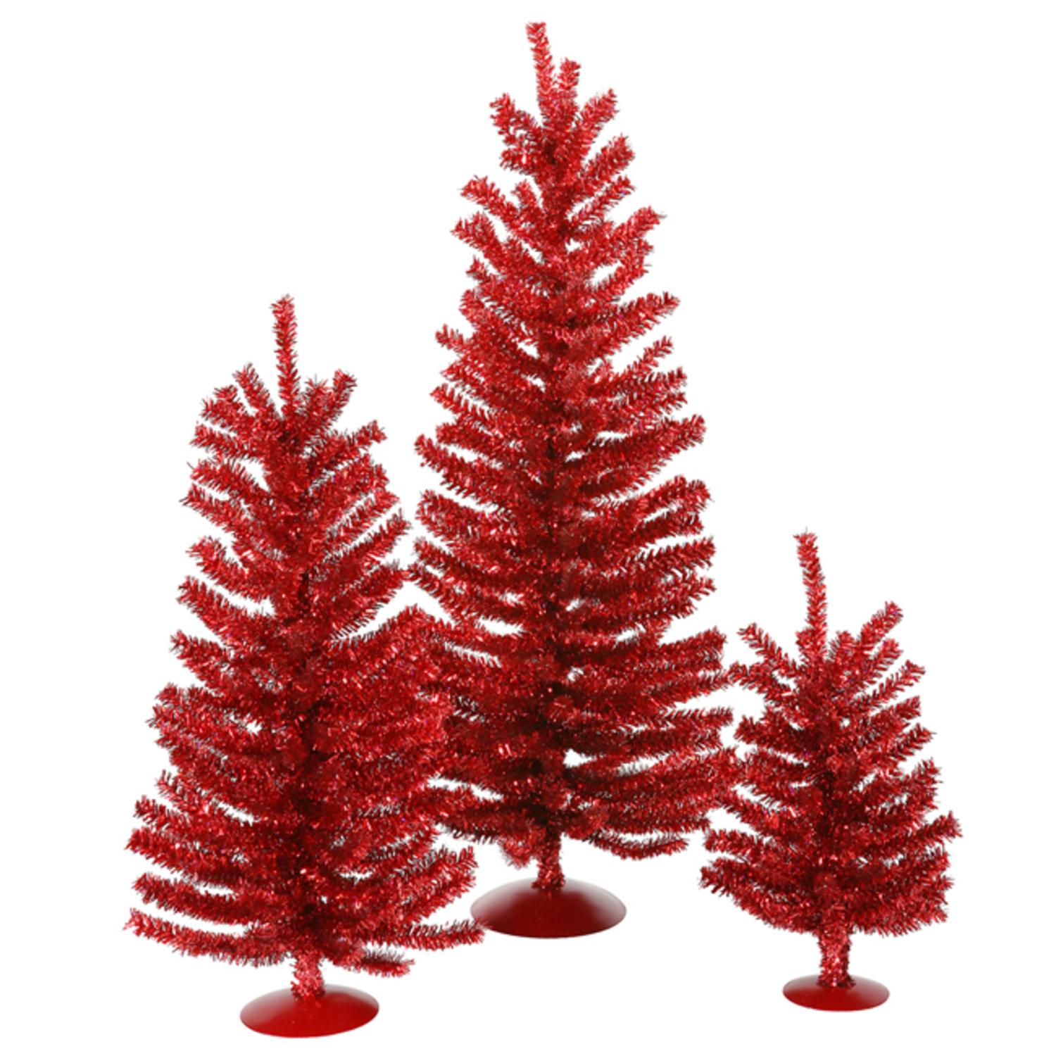 "Set of 3 Red Artificial Tinsel Christmas Trees 12"", 18"" & 24"" - Unlit"