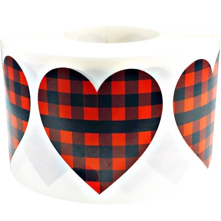 Heart Shapes (Red Buffalo Plaid Heart Stickers Valentine's Day 1 1/2 Inch Heart Shape 500 Adhesive)