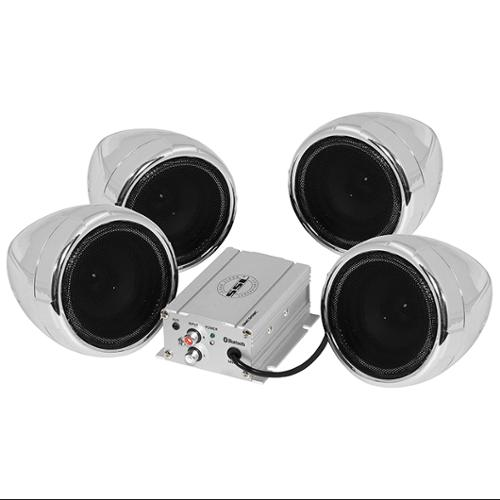 "Soundstorm SMC95BC Motorcycle System 3"" Chrome Speakers 1000w Max Bluetooth Aux Input"