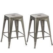 BTEXPERT® 24-inch Industrial Antique Clear Brush Distressed Metal Bar Stools Stackable Dining room (Set of Two)