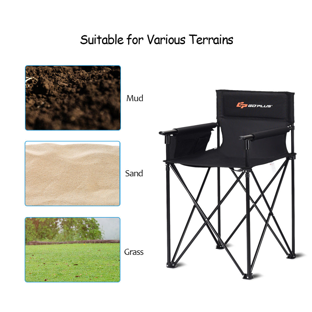 """Portable 38"""" Oversized High Outdoor Beach Chair Camping Fishing Folding Chair - image 6 de 10"""