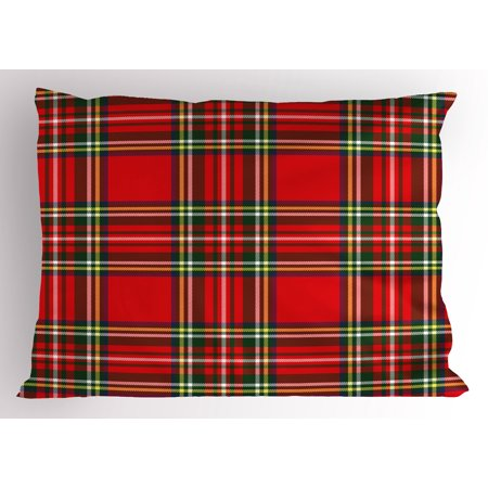 Red Plaid Pillow Sham European Western Culture Inspired Abstract Tartan Motif Vintage Classical Design, Decorative Standard King Size Printed Pillowcase, 36 X 20 Inches, Multicolor, by Ambesonne ()