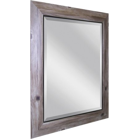 Erias Home Designs Decorative Framed Wall Mirror with Distressed Bark Look
