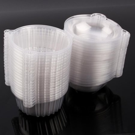 HERCHR 100pcs Plastic Cupcake Case Muffin Pods Dome Cups Cake Boxes Container,Plastic Cupcake (Muffin Container)