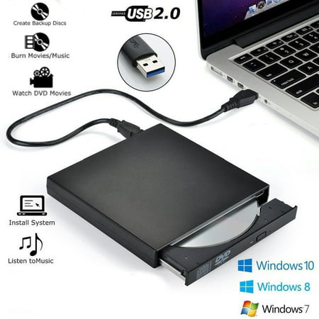 USB External DVD CD RW Disc Burner Combo Drive Reader Plug & Play for Windows 98/8/10 Laptop PC ()