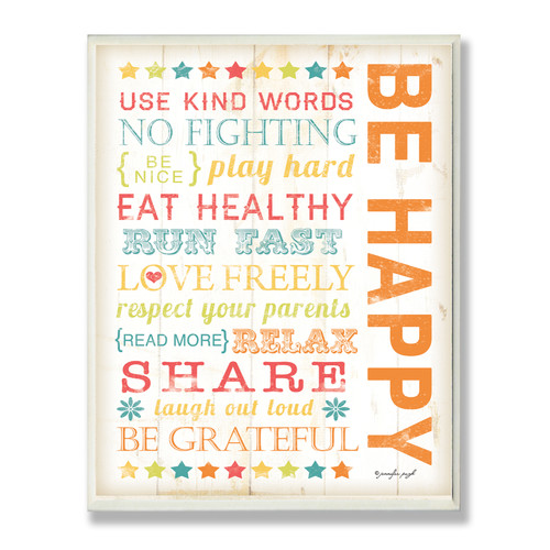 Be Happy Kids Typography Rules Rect Wall Plaque by Stupell Industries