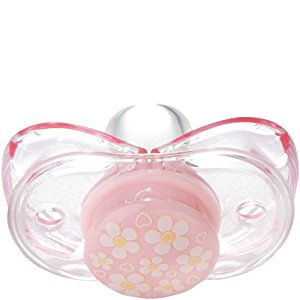 RaZbaby Keep - It - Kleen Pacifier - Pink with Flowers/Hearts