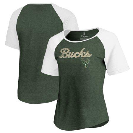 Milwaukee Bucks Fanatics Branded Women's Rising Script Color Block Raglan Tri-Blend T-Shirt - Green Milwaukee Bucks Colors