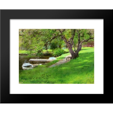 Bank Of A Lake In Central Park 20X24 Framed Art Print By William Merritt Chase