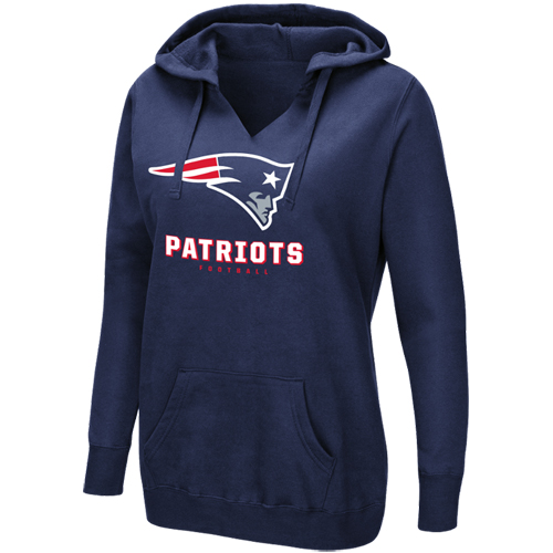 Women's Majestic Navy New England Patriots Shape It Up Pullover Hoodie