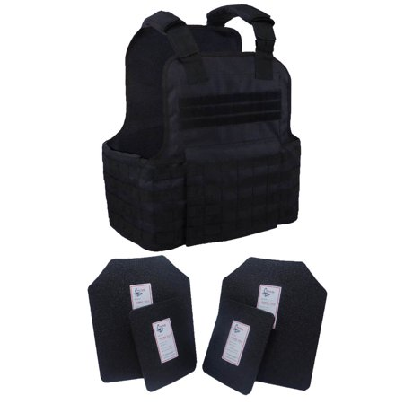 Tactical Scorpion 4 Pc Level III AR500 Body Armor Muircat 11x14 Vest - Black