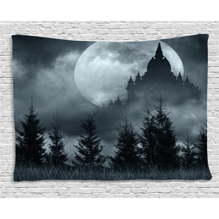 Halloween Tapestry, Magic Castle Silhouette over Full Moon Night Fantasy Landscape Scary Forest, Wall Hanging for Bedroom Living Room Dorm Decor, 80W X 60L Inches, Grey Pale Grey, by - Castle Halloween