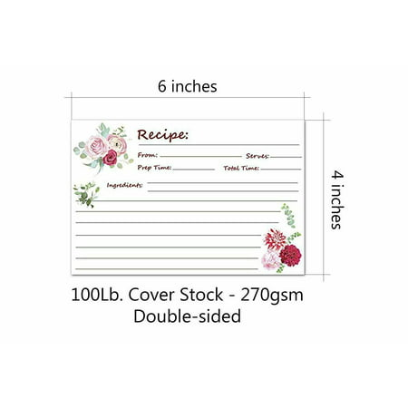 "Recipe Cards, Elegant Floral - Great For Wedding, Bridal Shower, and Special Occasion, Or for Your own Kitchen - 4"" X 6"" Inches, 80 lb. Cover Stock 