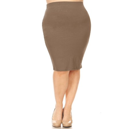 MOA COLLECTION Women's Solid Casual Elastic Waistband Stretchy Office Knee Length Midi Pencil Skirt