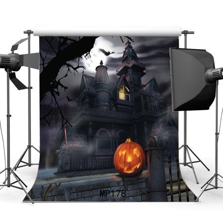 HelloDecor Polyster 5x7ft Hallowmas Backdrop Gothic Halloween Horror Night Haunted House Pumpkin Lamp Shining Moon Old Tree Black Bat Photography Background Kids Adults Masquerade Photo Studio Props