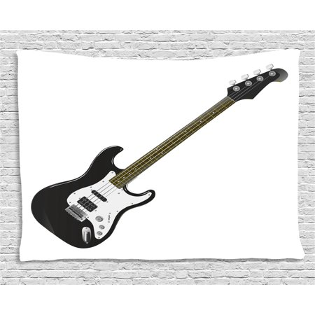 Guitar Tapestry, Bass Four String Rhythm Music Rock and Roll Element Detailed Illustration, Wall Hanging for Bedroom Living Room Dorm Decor, 60W X 40L Inches, Black White Caramel, by - Rock And Roll Room Decor