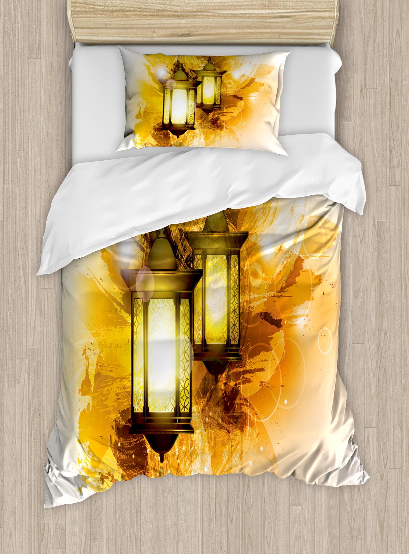 Arabesque Twin Size Duvet Cover Set, Urban Ramadan Kareem Lanterns Antique... by Kozmos