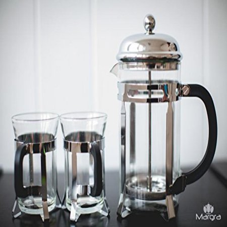 MARGRA French Press Coffee & Tea Maker Set - Elegant Design - Dual