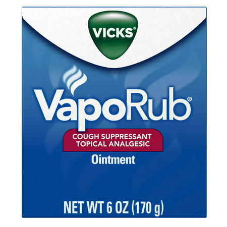 Vicks VapoRub Original Cough Suppressant, Topical Analgesic Ointment, 6 oz, Best used for relief from cold symptoms, aches, and