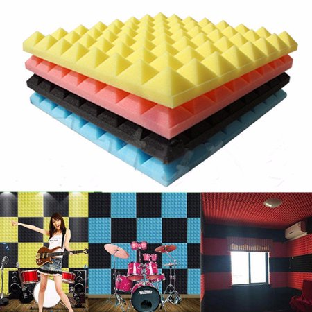 1Pc 20'' Black/Yellow Acoustic Soundproof Sound Absorption Pyramid Studio Foam Sponge 50×50cm