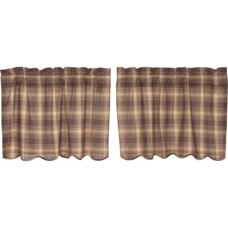 Woodland Brown Rustic & Lodge Kitchen Curtains Brickston Rod Pocket Cotton Hanging Loops Plaid 24x36 Tier Pair