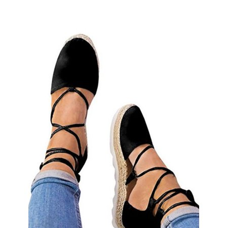 Women's Ladies Flat Wedge Espadrille Lace Tie up Sandals Platform Summer Shoes