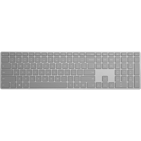 Microsoft Modern Keyboard with Fingerprint ID - Wired/Wireless Connectivity - Bluetooth - Compatible with Windows, Mac, Android, iOS - QWERTY Keys Layout - Gray