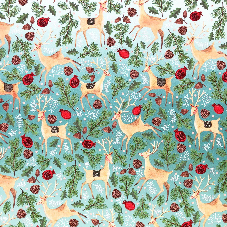 Jillson & Roberts Gift Wrap, Reindeer Tapestry (6 Jumbo Rolls 10ft x 30in)